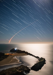 Tuesday mornings launch of Rocket Labs Electron rocket blasting off from Mahia Peninsula as seen from the hill at Castlepoint New Zealand