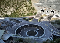 Tunel Dels Los Vilares East entrance and double decker traffic circle  Andorra La Vella Andorra