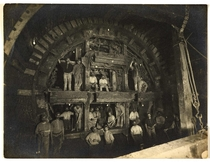 Tunnelling shield and crew building Londons Central Line