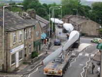 Turbine Blade Convoy for Scout Moor Wind Farm passing through Edenfield - by Paul Anderson
