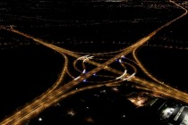 Turbine interchange at night Lummen Belgium