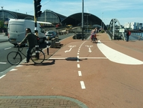 Turning lanes for bicycles Amsterdam the Netherlands