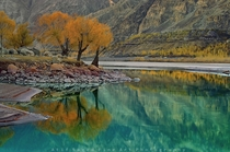 Turquoise Blue water in the Shyok River Pakistan  by Atif Saeed