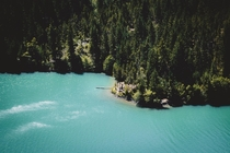 Turquoise blue waters of Diablo Lake WA