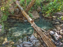 Turquoise Natural Hot Spring after a  mile hike in Gila National Forest New Mexico