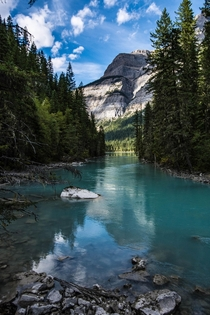 Turquoise waters of Mount Robson Provincial Park Canada