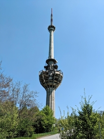 TV tower on the Fruska Gora a mountain near Novi Sad Serbia It was bombed in  and has been left like that until the present day