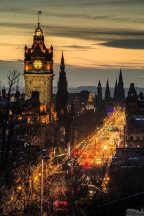 Twilight along Princes Street Edinburgh Scotland
