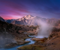 Twilight at Hot Creek Mammoth Lakes CA USA  theurbanvoyager