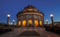 Twilight at the Bode Museum in Berlin Germany