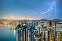 Twilight Lightning Over Kowloon Hong Kong  Photo by Daniel Chui