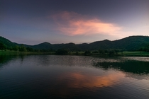 Twilight over lake Khao-wong Thailand