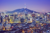 Twilight over Seoul South Korea