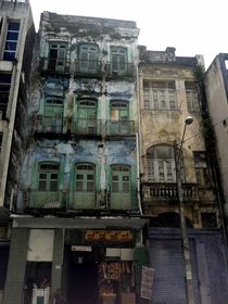Two abandoned buildings in downtown Recife Brazil
