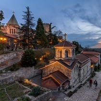 Two churches outside the walls of Kalemegdan fortress downtown Belgrade
