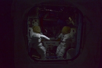 Two empty spacesuits sit quietly during night time aboard the ISS The astronauts aboard live by GMT and generally sleep at the same time despite orbiting through daylight many times a day  from Alexander GerstESAs Halloween photo album Spooky Space Statio