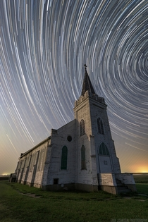Two hours of exposure over an abandoned church in rural Nebraska