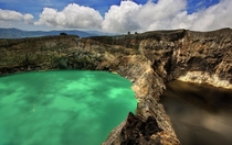 Two Lakes on Mount Kelimutu Idonesia
