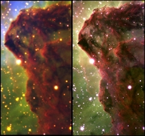 Two near-infrared images of the Western Wall in the Carina Nebula The image on the right was captured by the  meter Gemini South Telescope in Chile using a near-infrared adaptive optics which represented a -fold increase of the telescopes resolution Credi