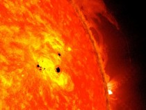 Two new sunspots are rapidly forming on the sun They have already grown to over six Earth diameters across