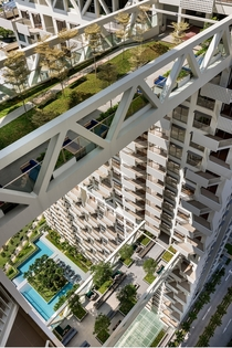 Two of the three bridge sky gardens linking the two towers of Sky Habitat Singapore a residential complex in Bishan Central Region Singapore