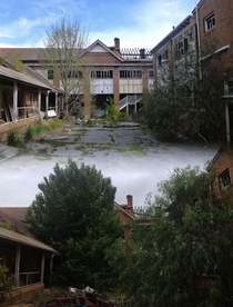 Two photos of an abandoned orphanage taken a year apart