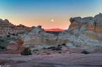 Two Raven Moon Vermilion Cliffs National Monument Arizona by Bill Bowman