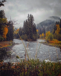 Two rivers converge as Summer meets Autumn deep in Washington State  GarrettBaespflug
