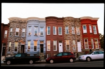 Typical Baltimore rowhouses at sunset