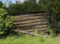 Typical sight along North Carolina and Virginia rural roads abandoned tobacco curing sheds surrendering to Nature