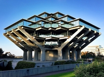 UC San Diego Library - La Jolla CA - Named in honor of Theodor Seuss Geisel otherwise known as Dr Seuss - Designed by William Pereira in  its distinctive architecture is described as occupying a fascinating nexus between brutalism and futurism