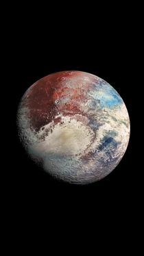 Ultra high resolution photo of Pluto enhanced colours zoom in