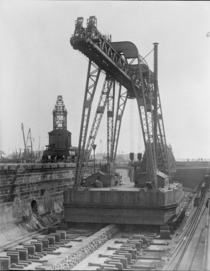 Uncle Sams largest crane on the Atlantic coast in drydock at Navy Yard Boston October
