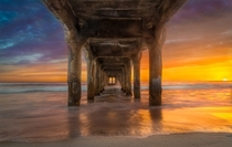 Under the Manhattan Beach Pier Stunning Sunset