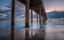 Under the Scripps Pier in La Jolla San Diego CA