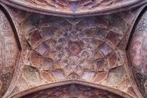Underneath the dome of the Wazir Khan Mosque in Lahore Pakistan
