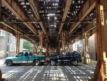 Underneath tracks in Chicago Illinois
