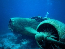 Underwater airplane wreckage presumably WWII era location and photographer unknown