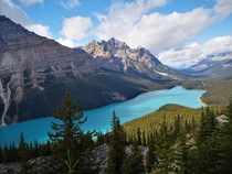 Undoubtedly the least busiest and most beautiful lake in Banff Canada lake peyto now summit point