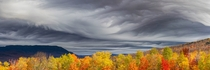 Undulatus asperatus clouds over near-peak foliage in Carrabassett Valley Maine
