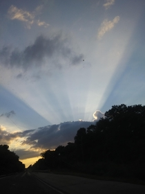 Unedited photo of Heaven pouring out on the Texas Sky