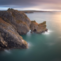 Unicorn Stackpole Rock Formations in the Morning Pembrokeshire South Wales United Kingdom  by ansharphoto