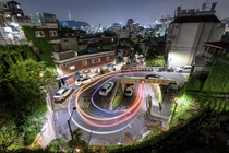 Uniquely shaped P-turn in Ihwa Ward Jongno District Seoul South Korea