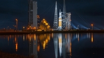 United Launch Alliance Delta IV Heavy rocket with the Orion spacecraft on top awaiting liftoff from Space Launch Complex-
