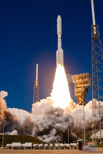United Launch Alliances Atlas V rocket thunders its way off the launchpad bearing MUOS- to orbit