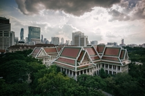 University building with Bangkok at its back