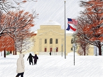 University of North Carolina after snowstorm art