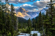 Unknown Mountain by Kicking Horse River in Yoho National Park