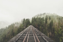 Unknown mountain with railroad by Jamal BurgerJayscale