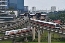 Unlike Dallas they build flyover interchanges for trains in singapore Jurong East interchange station